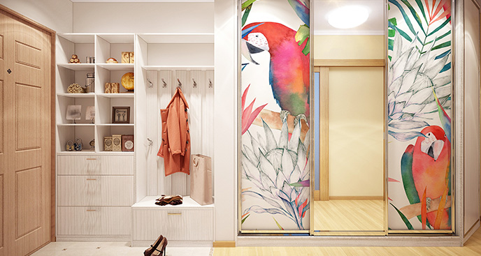 Naklejka tropikalne papugi