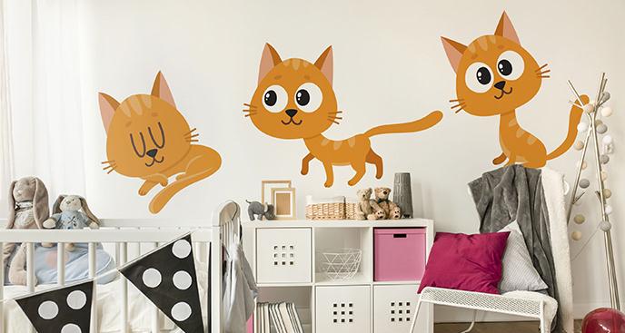 Naklejka trzy rude koty