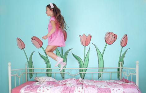 Naklejka tulipany do pokoju dziecka