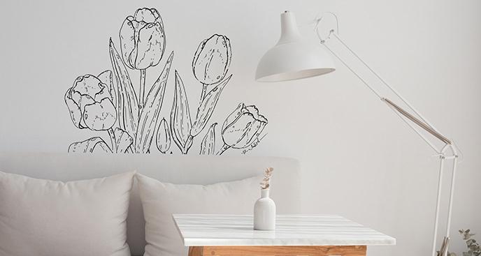 Naklejka tulipany do sypialni