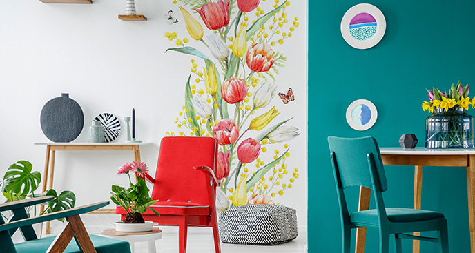 Naklejka tulipany i motyle