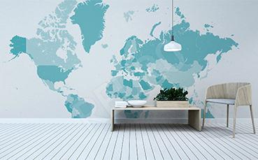 Naklejka turkusowa mapa świata