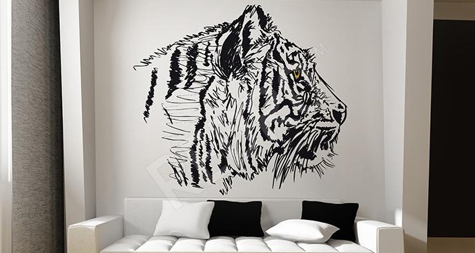 Naklejka tygrys czarno-biały