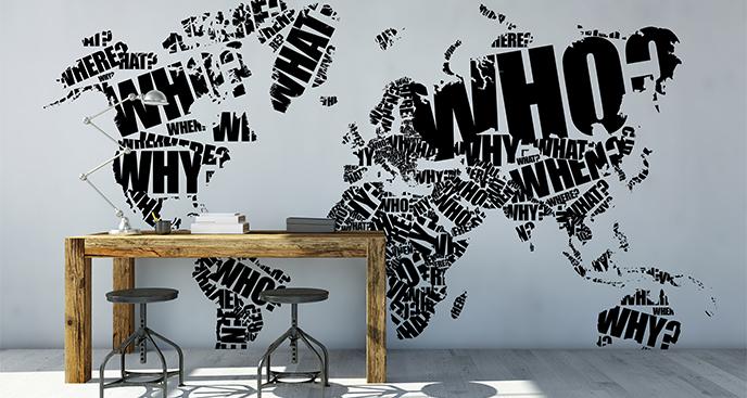 Naklejka typograficzna mapa
