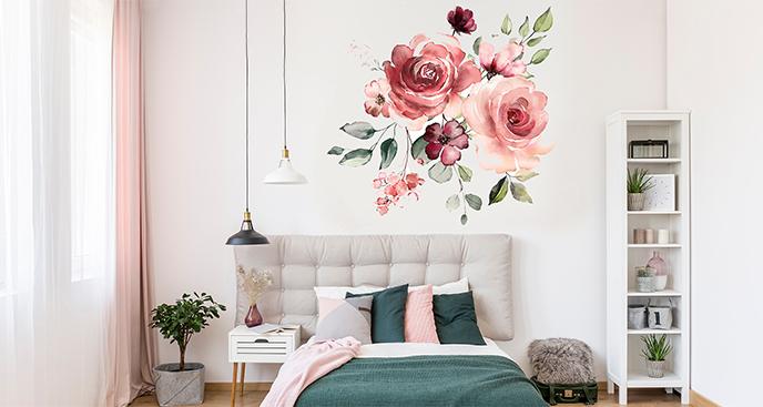 Naklejka z akwarelowymi różami