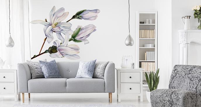 Naklejka z białymi kwiatami