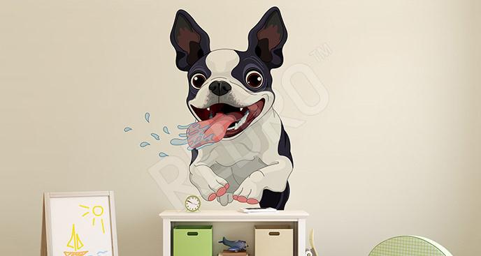 Naklejka z biegnącym psem