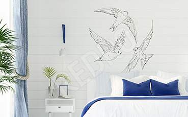 Naklejka z czarno-białymi ptakami