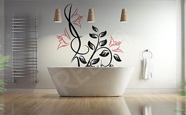 Naklejka z kwiatem do łazienki