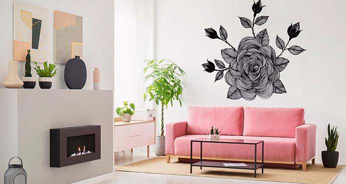 Naklejka z kwiatem malowana ręcznie
