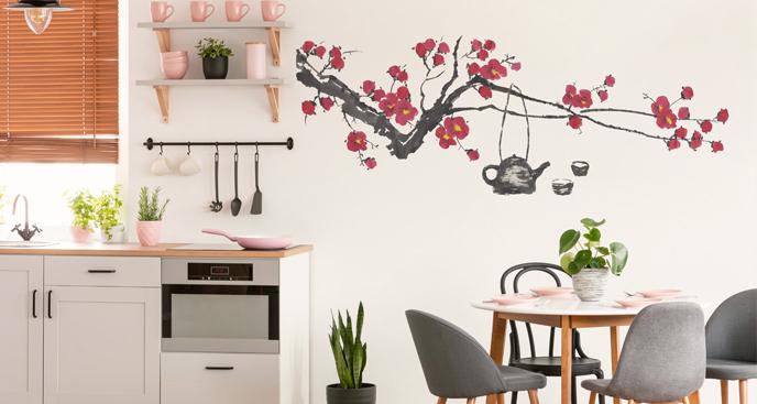 Naklejka z kwitnącą wiśnią