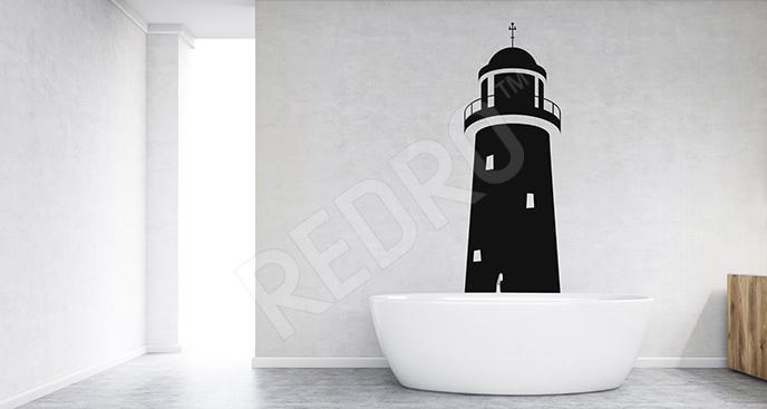 Naklejka z morską latarnią do łazienki