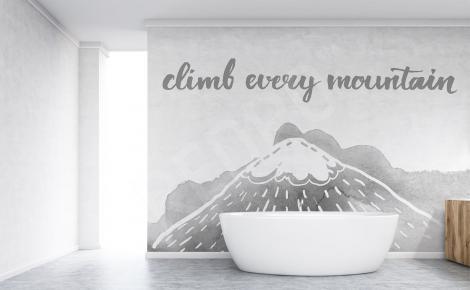 Naklejka z napisem w łazience
