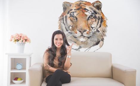 Naklejka z tygrysem malowanym akwarelą