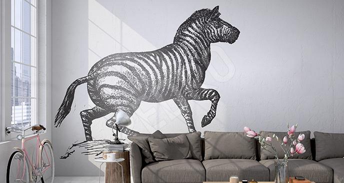 Naklejka z zebrą do salonu