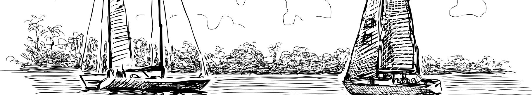 Naklejka żaglówki na jeziorze