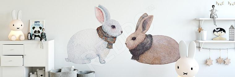 Naklejka ze zwierzętami: króliki w szalikach
