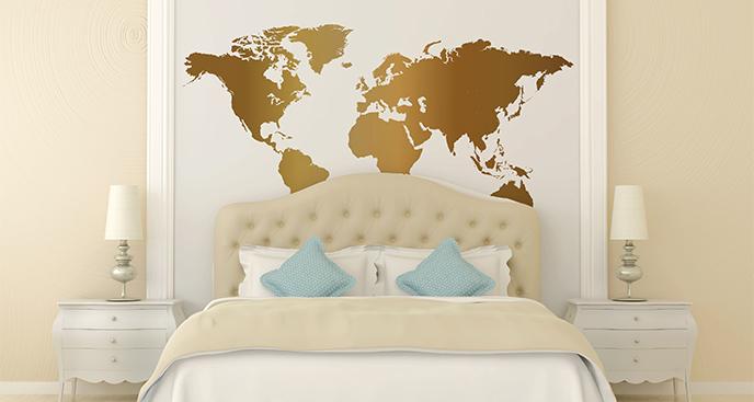 Naklejka złote kontynenty