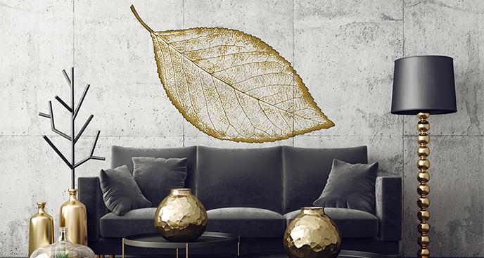 Naklejka złoty liść do wnętrza glamour