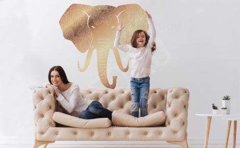 Naklejka złoty słoń