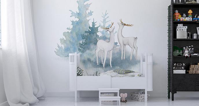 Naklejka zwierzęta: białe jelenie