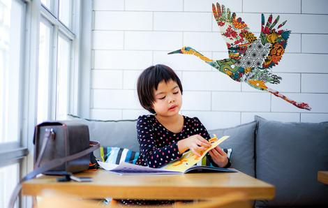 Naklejki bocian w japońskim ornamencie
