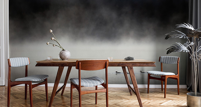 Fototapeta mgła nad lasem - krajobraz