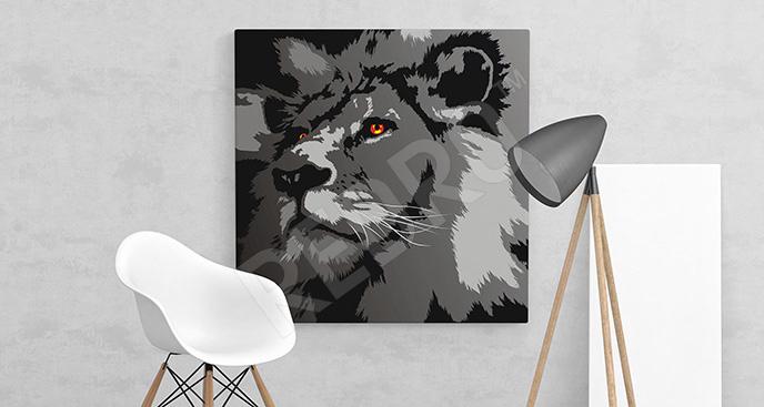 Nowoczesny obraz z lwem