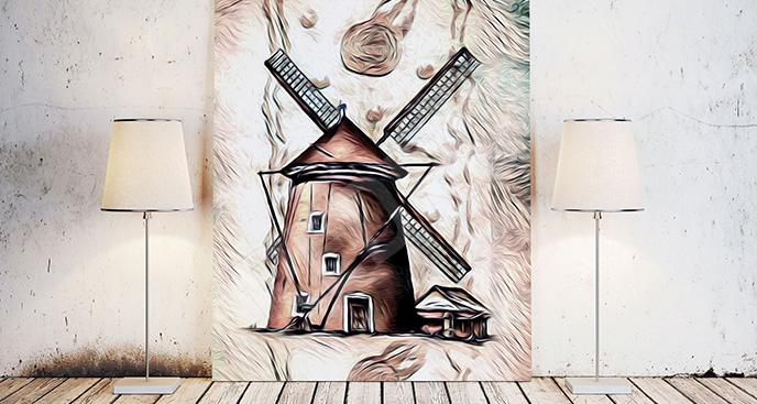 Nowoczesny obraz z wiatrakiem