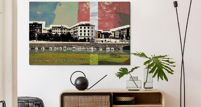 Nowoczesny obraz z widokiem na Livorno