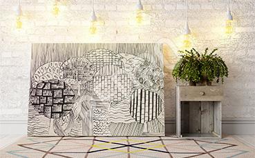 Obraz abstrakcja: czarno-biały szkic