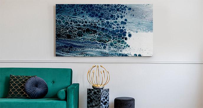 Obraz abstrakcja i niebieska fala