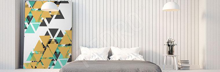 Obraz abstrakcyjne trójkąty do sypialni
