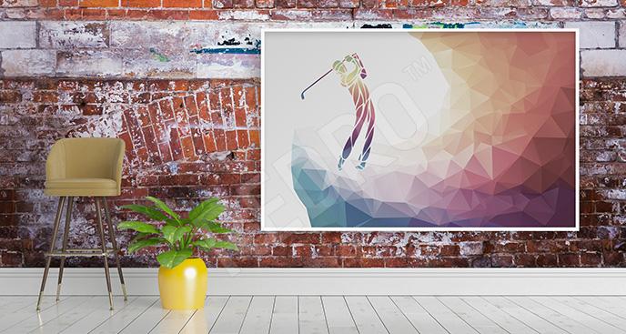 Obraz abstrakcyjny z golfistą