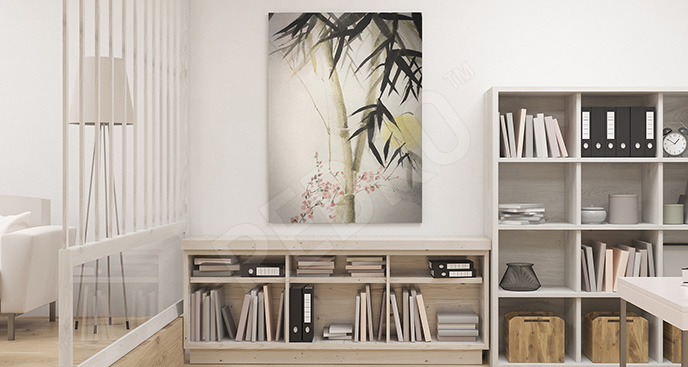 Obraz akwarela z bambusem
