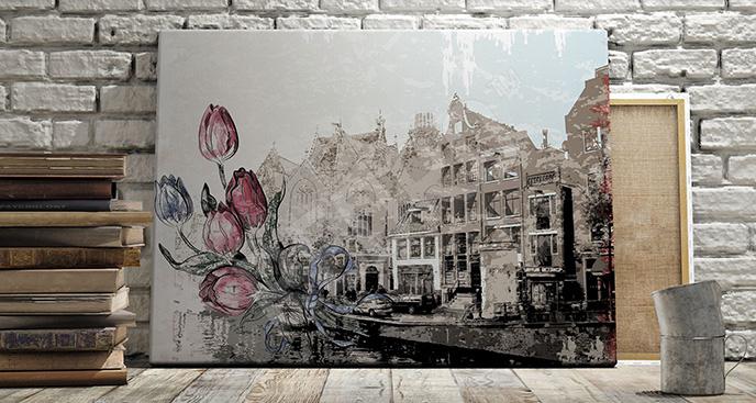 Obraz Amsterdam tulipany