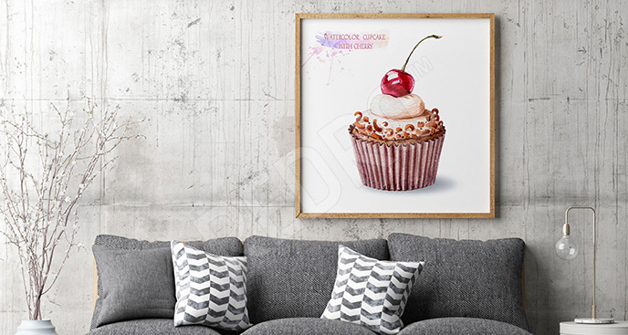 Obraz babeczka z wiśnią