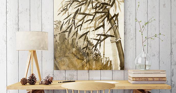 Obraz bambus i krajobraz