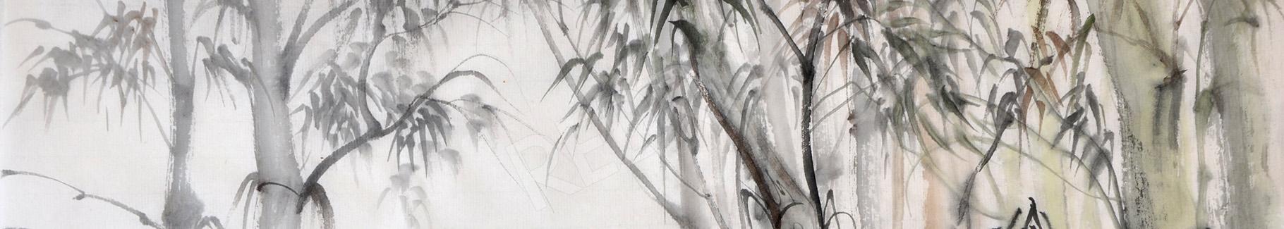 Obraz bambus malowany akwarelą