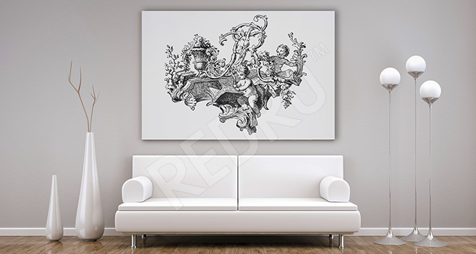 Obraz barokowy czarno-biały