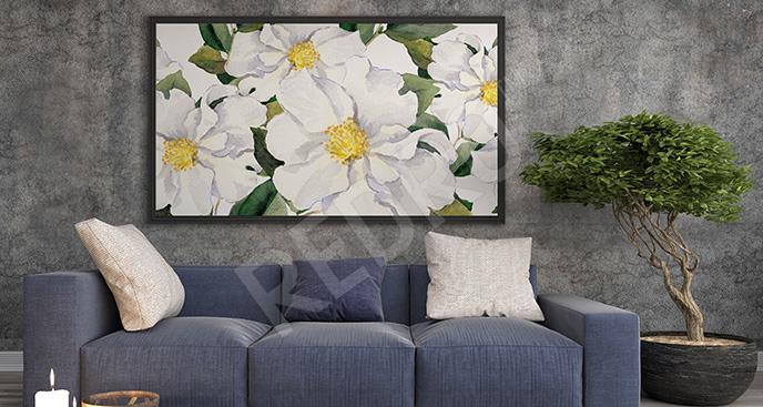 Obraz białe magnolie do salonu