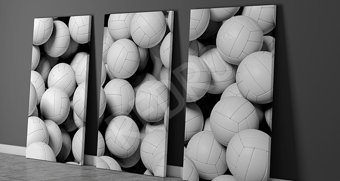 Obraz białe piłki tryptyk