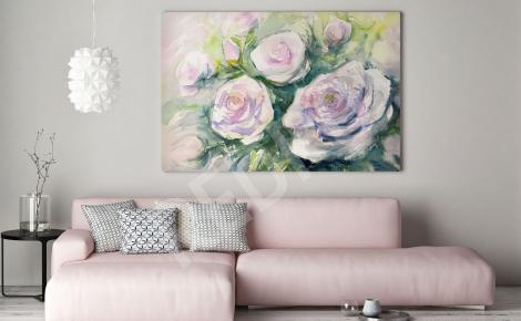 Obraz białe róże akwarela