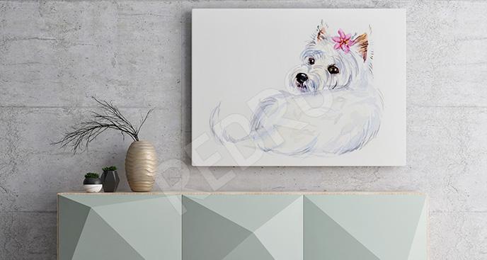 Obraz biały pies