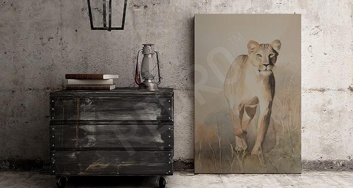 Obraz biegnąca lwica