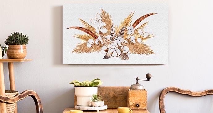 Obraz bukiet z trawą pampasową