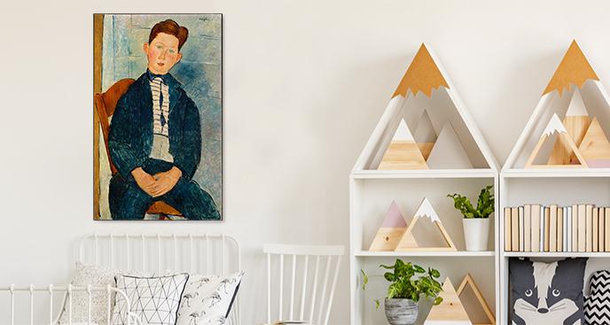 Obraz Chłopiec w pasiastym swetrze