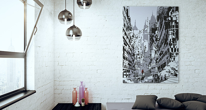 Obraz czarno-białe miasto