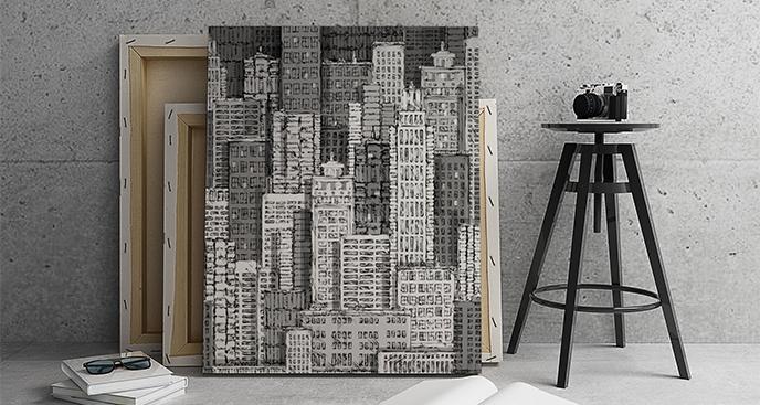Obraz czarno-białe wieżowce
