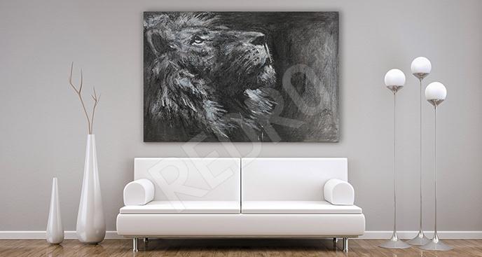 Obraz czarno-biały dziki kot